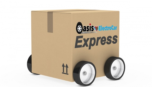 brown package car figure on withe background